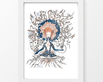 """Goddess in creation / Female meditation drawing wall art home decor downloadable art to print at home or at a print shop / A4 and 8.5"""" x 11"""""""