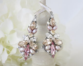 Wedding Earrings, Blush statement chandelier earring, Swarovski crystal and freshwater pearl wedding earring, Pastel bridal earring