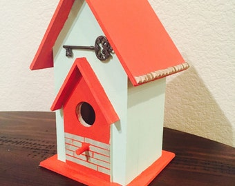 Hand Painted Birdhouse- green/coral key detail