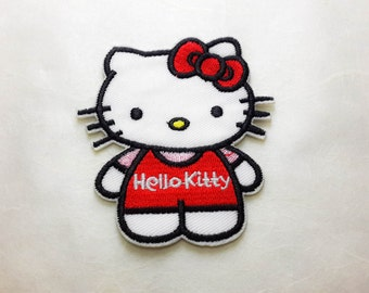 Hello Kitty Iron on Patch (L1)-Hello Kitty Cartoon Applique Embroidered Iron on Patch- Size 7.1x8.0 cm