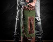 Duffel bag by Kruk Garage Travel bag made of British army duffle bag Carryall Leather and canvas bag Men's bag Large bag Gym bag Sport bag
