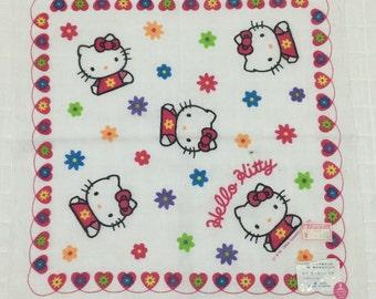 Vintage child's handkerchief Sanrio Hello Kitty 1994 Kawaii hankies Made in Japan