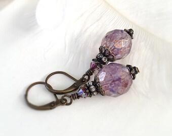 Lavender Drops Earrings, Amethyst Opal Czech Glass Drop Earrings - Vintage Style Jewelry