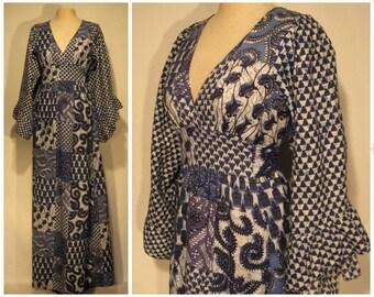 70s angel sleeve maxi dress, indigo blue hippie dress, 1970s maxi dress, festival dress