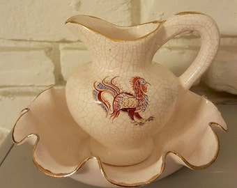 Vintage Rooster Wash Basin and Pitcher