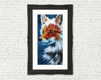 Red Fox Art Blue Fox Home Decor Woodland Decor Fox Wall Art