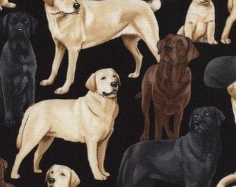 Labs on Black Fabric / Labrador Fabric / Dog Fabric / Timeless Treasures c3240  / Fat Quarter, 1/2 Yard