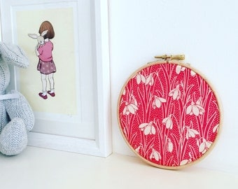 A beautiful Liberty print wall hanging. Embroidery Hoop Decoration. Perfect Gift for child's room or nursery. 12cm 5""