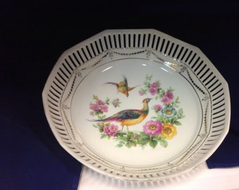 Vintage Schumann, Bavaria Dresden Style China Reticulated 10 Sided Plate, Germany