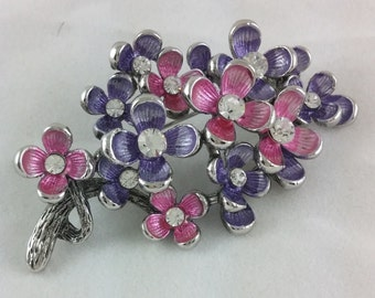 Pretty Vintage Pink and Purple Flowers Brooch Pin