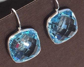 14k solid white gold and blue topaz earrings, large earrings