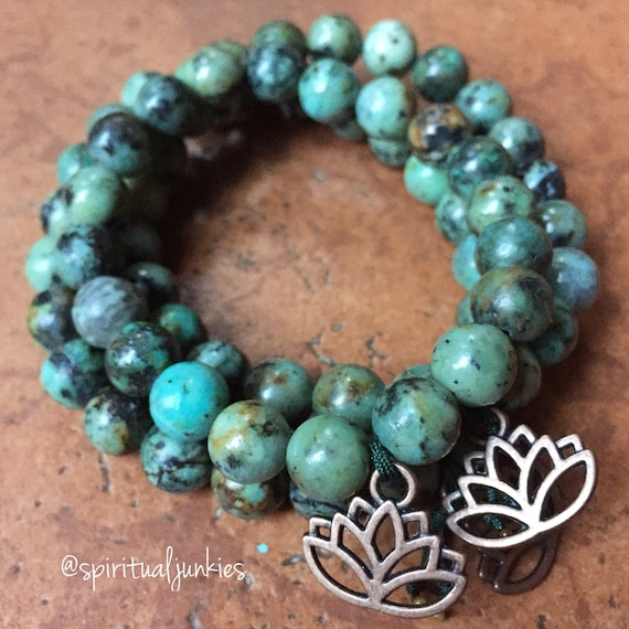 Stackable Mala Inspired African Turquoise + Copper Lotus Spiritual Junkies Yoga and Meditation Bracelet (single bracelet)