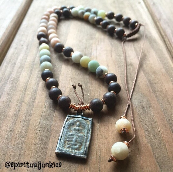 Adjustable 54 bead Agarwood, Matte Sunstone, Amazonite + Buddha Yoga and Meditation Mala