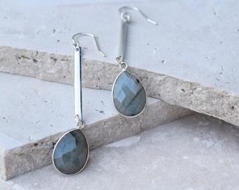 Labradorite earrings, simple dangle earrings, silver drop earrings, silver gemstone earrings, long silver earrings, simple drop earrings