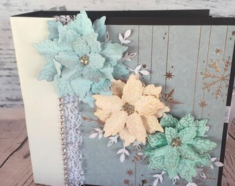 Christmas Album - Photo Album - Mini Album - Poinsettias - Winter Wonderland - Scrapbook - Christmas - Memory Book - Premade Album