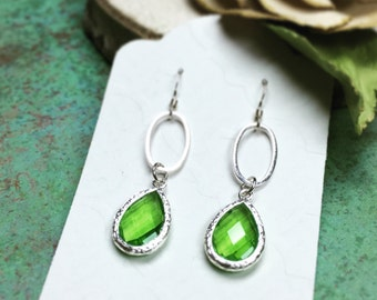 Green Glass Crystal Earrings, Sterling Silver Earrings, Apple Green Pear-Shaped Earrings