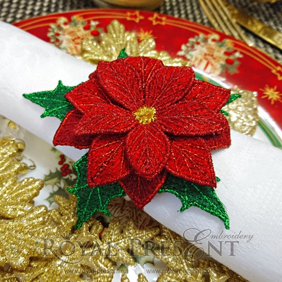 Fsl machine embroidery design christmas star napkin ring