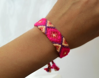 Friendship Bracelet In Hot Neons Pink Woven Bracelet Ibiza Style Bracelet Pink Arm Candy Aztec Bracelet Beach Jewelry Tribal Boho Bracelets