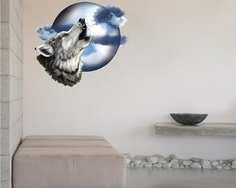 Wolf Decal, Moon Decal, Howl at the Moon Decal, Wolf Wall Design, Wolf Wall Mural, Wolf Wall Design, Moon Wall Decor, Moon Wall Mural, b92