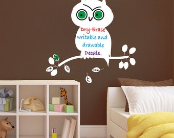 Dry Erase Material, Dry Erase Decal, Owl Dry Erase Wall Mural, Owl Dry Erase Wall Design, Removalbe Dry Erase Owl Decal, Writable Decal, b61