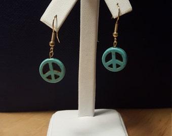 Handmade peace sign earrings