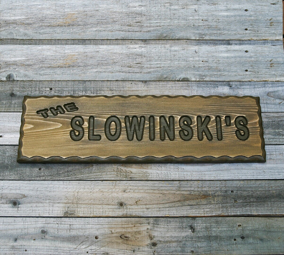 Custom wood sign family name rustic carved