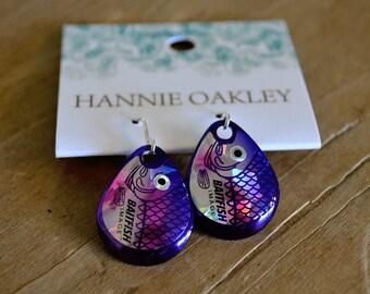 Fishing Lure Earrings, Fishing Jewelry, Lure Earrings, Lure Jewelry, Lure, Tackle, Fishing Tackle, Fishing Lure Jewelry - Fish Eye (Purple)