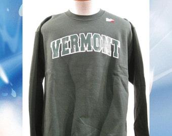 Vermont Arch Sweatshirt on Forest Green Crew Neck with white/green Arch - UVM University of Vermont  Crew - VT sweatshirt