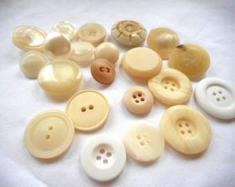 Lots of Vintage Buttons, Medium to Large Vintage Buttons, Shanked and Sew Throughs, Creams to Whites, Some Iridescent, Natural Earthy Tones