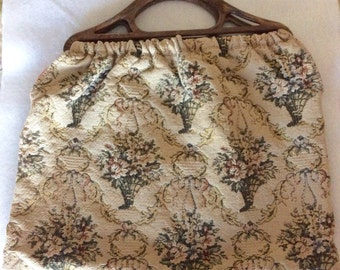 Vintage Floral Tapestry Knitting, Yarn, Project Bag, Book Tote with Plastic Handles circa 1960s