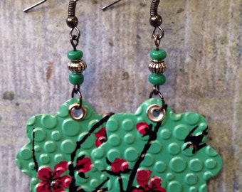 Up-cycled Arizona Green Tea Can Earrings, recycled cans