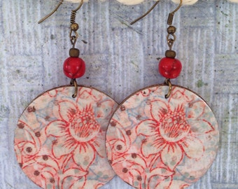 Up-Cycled Floral Earrings, decoupage cereal box, cardboard earrings