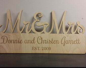 Custom Mr & Mrs wood cutout wedding sign personalized plaque