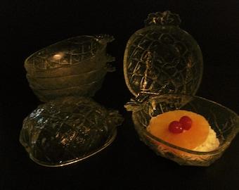 SALE - Italian - Pineapple Glass Bowls - Set of Six
