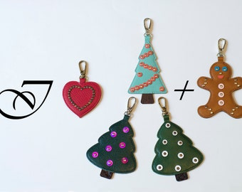 Leather Bag Charm, Zipper Pull, Leather Keychain, Key Fob, Christmas Ornament, Leather Heart, Christmas Tree, Valentine, SALE
