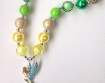 Rhinestone pendant Tinkerbell character inspired fairy multicolour chunky bubblegum bead necklace