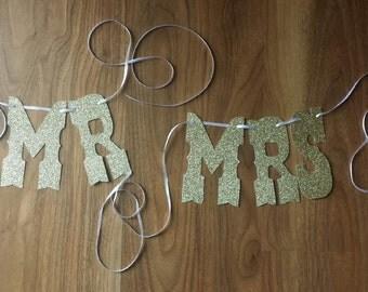 "Wedding Day ""Mr"" & ""Mrs"" Glitter Gold Chair Bunting"