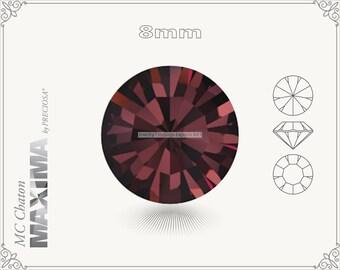 6 pc.+ SS39 (8mm) Preciosa MC Chaton MAXIMA - Burgundy Color
