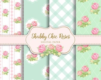 Shabby Chic Digital Paper, Shabby chic rose for scrapbooking, invites, cards, instant download, Shabby Chic paper design instant download