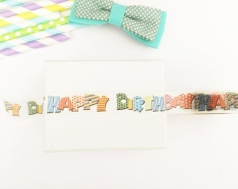 Colorful ''happy birthday'' washi tape, cute deco tape, paper tape, cute tape, packaging, wrap tape,colorful packaging,birthday cake
