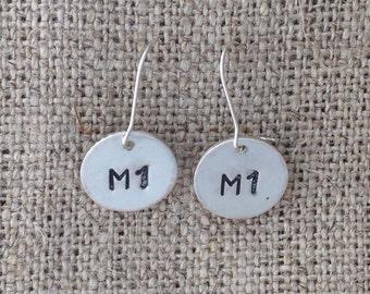 pregnant knitter (M1) earrings - sterling silver dangle