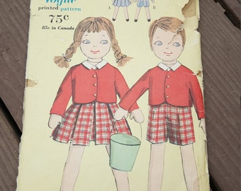 Vintage 1960 Vogue Pattern 5125 Jack and Jill Twin Dolls and Clothes, Uncut