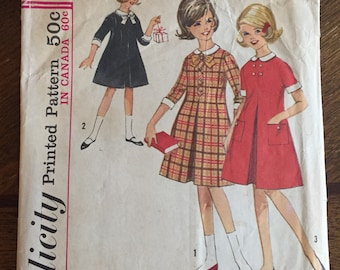 """Vintage 60s Girls Dress -Simplicity 5180 Pattern - Dress with Collar and Cuffs - Girl Size 10 24"""" Waist"""