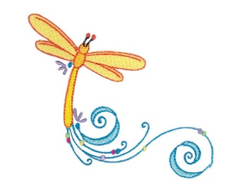 Swirly Dragonflies Design 11 Filled Stitch Machine Embroidery Design 4x4 5x7 6x10