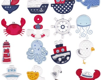 Set Sail Applique - 16 Different Applique Machine Embroidery Designs 4x4 5x7 6x10