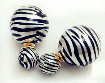 Zebra print earrings| Black and white pearl earrings| celebrity fashion earrings