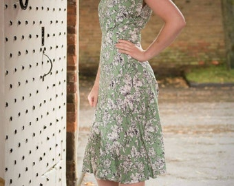 "1940s dress, handmade vintage inspired ""Ella"" dress in a floral print , pleated waist detail. Made to order in size."