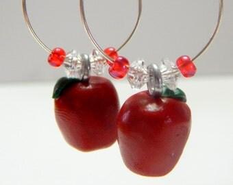 Pair of Red Apple Fruit Hoop Earrings, Handmade of Polymer Clay.