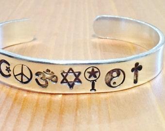 Coexist Religion Belief Symbol Worldly Hand Stamped Adjustable Cuff Bracelet