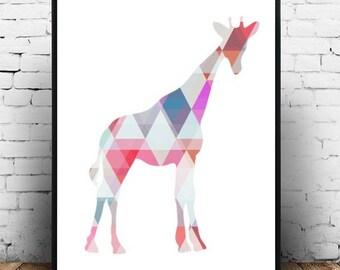 Nursery Prints,Giraffe Print, Printable Wall Art. Giraffe Wall Art, Nursery Art,  Abstract Giraffe print, Instant Download, Digital Art